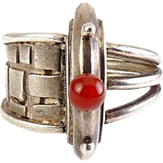 Modernist Sterling Silver & Carnelian Ring with Split Styles Band, Architectural Detail
