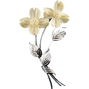 Sterling Silver & Carved Bone Dogwood Flowers Pin