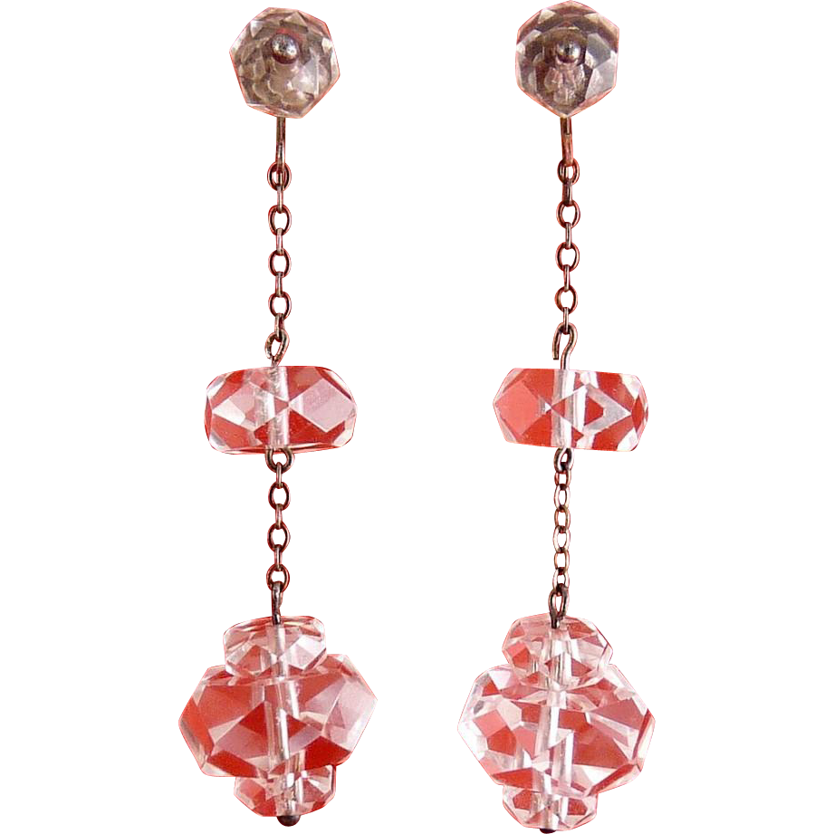 1920's Art Deco Crystal Quartz Beads & Sterling Silver Chain Drop Earrings