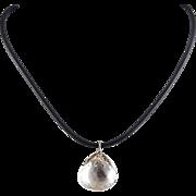 Rock Crystal Quartz Faceted Teardrop Pendant, Sterling Cap, Black Rubber Cord Necklace