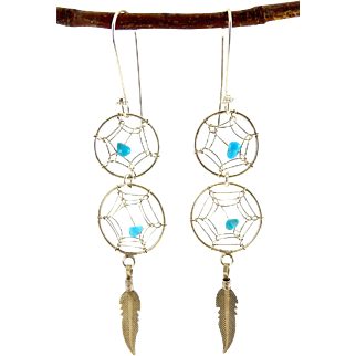 Native American Sterling Silver & Turquoise Double Dreamcatcher Earrings