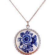Vintage Delfts Holland Porcelain Blue Flowers Pendant, Sterling Silver Necklace Chain