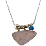 Sterling Silver, Pink Druzy & Opal Modern Pendant with Sterling Necklace
