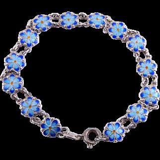Sterling Silver & Enamel Blue Forget Me Nots Bracelet