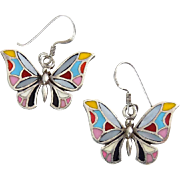 Sterling Silver Butterfly Earrings with Mother of Pearl & Colorful Enamel, Pierced