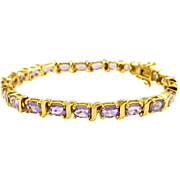 Amethyst Line Tennis Eternity Bracelet, Sterling Silver, Gold-Plated