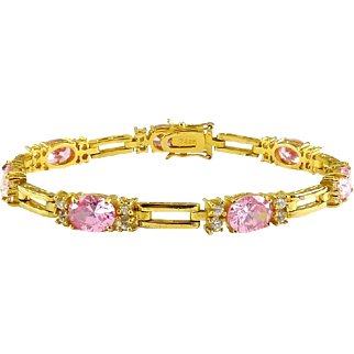 Sterling SIlver & Gold Vermeil Line Eternity Bracelet with Bright Pink Oval CZs