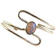 Sterling Silver & Glass Opal Cabochon Modernist Cuff Bracelet