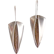Long Sterling Spears Pendant Earrings with Golden Coils Inset Pleats