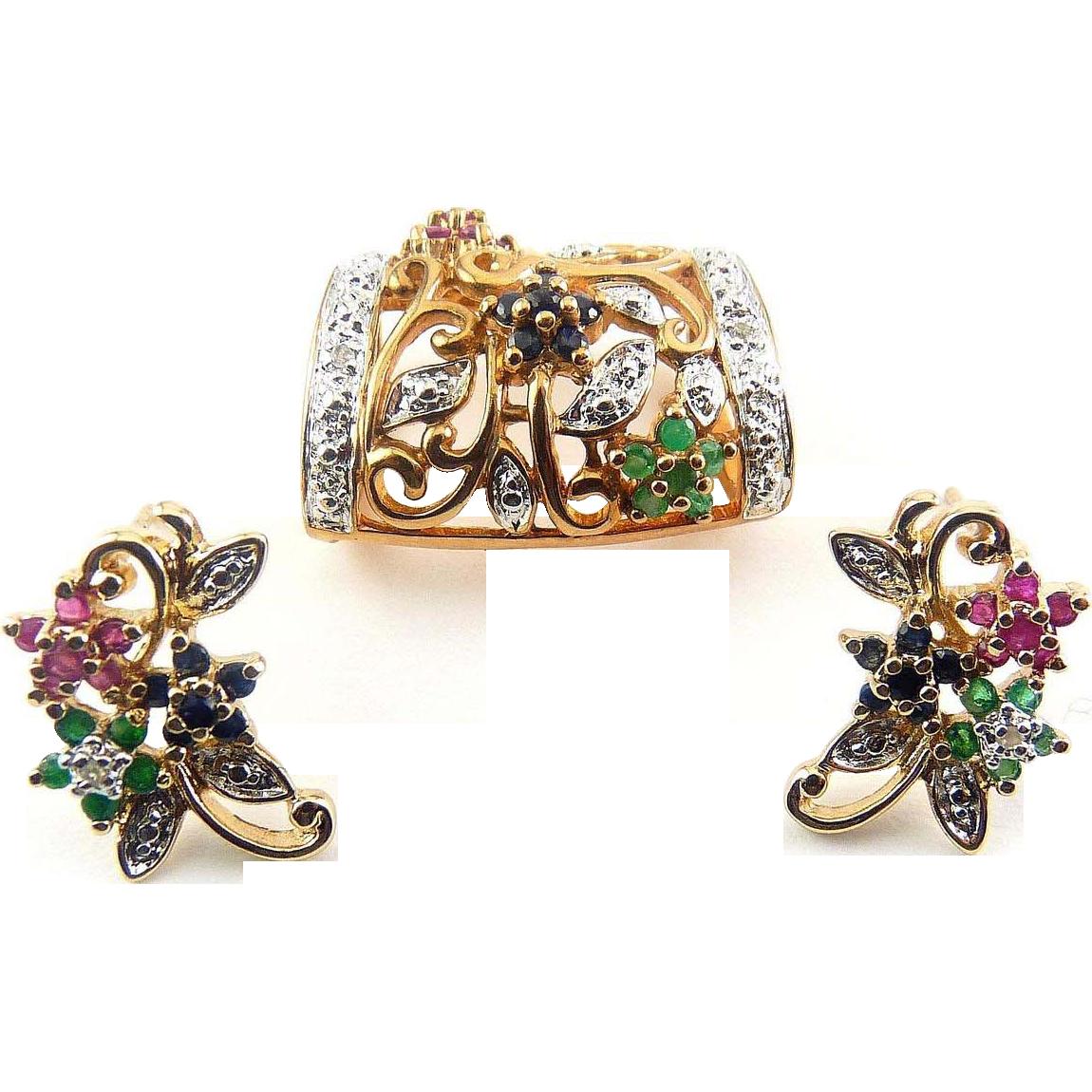 Sterling Silver & Gold Vermeil Gem Earrings & Enhancer Pendant - Rubies, Sapphires, Emeralds