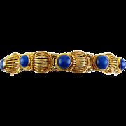 Etruscan Revival Style Sterling & Gold Vermeil Lapis Cabochons Shell Links Bracelet