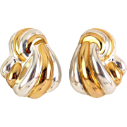 Sterling Silver & Gold Overlay Ribbed Knotted Fan Earrings