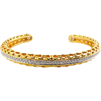 Sterling Silver & Gold Vermeil Cuff Bracelet with a Row of CZs and Pave' Ends