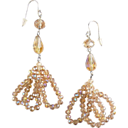 Swarovski Light Colorado Topaz AB & Sterling Silver Beaded Loop Drop Earrings - Pierced