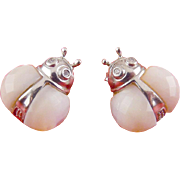 Sterling Silver & Mother of Pearl Lady Bug Earrings- Pierced, LadyBug Earrings