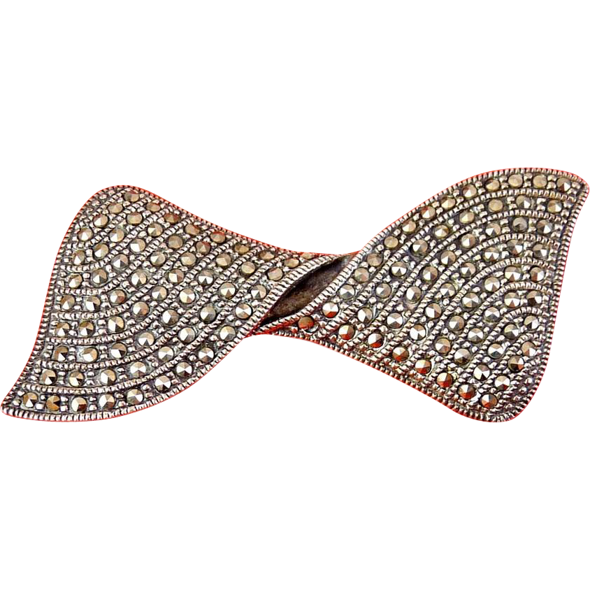Sterling Silver & Marcasite Pave Twisted Ribbon Bow Pin