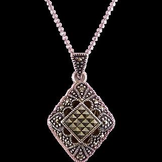Sterling Silver & Marcasite Diamond Shaped Sachet Perfume Locket Necklace