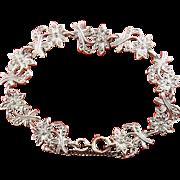 Vintage Sterling Silver & Marcasites Edelweiss Flowers Bracelet