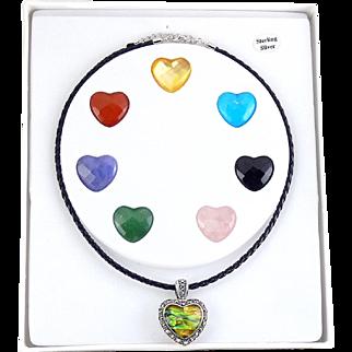 Sterling Silver & Marcasites Multi Gemstone Hearts Pendant Set, Black Cord Necklace
