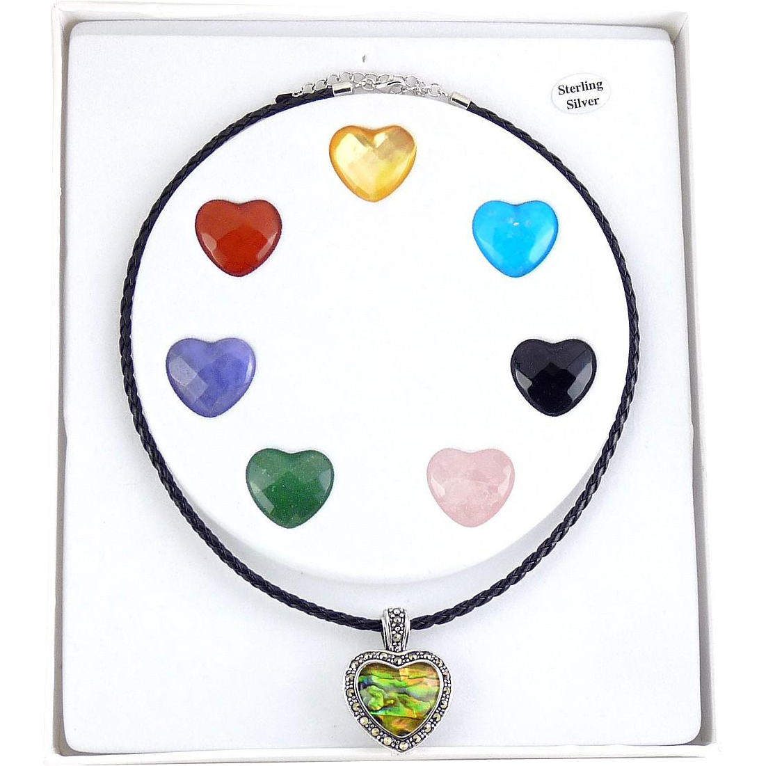 Sterling Silver & Marcasites Multi Gemstone Hearts Pendant Set, Black Cord Necklace
