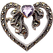 Sterling Silver and Marcasite Heart Pin with Amethyst on Bow