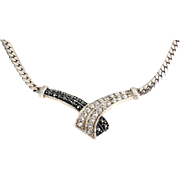 Sterling Silver Marcasite & CZ V Front Necklace, Flat Curb Link Chain