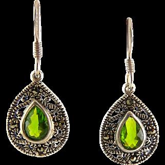 Sterling Silver, Marcasites & Peridot Green Crystal Teardrop Earrings