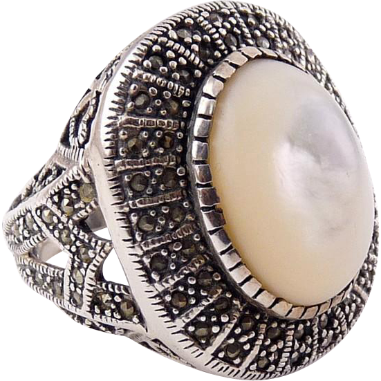 Big Sterling, Marcasite & Mother of Pearl Ring - Oval Front, Size 10