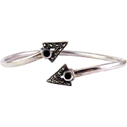 Sterling Silver Triangle Ends Bypass Cuff Bracelet with Marcasites & Onyx