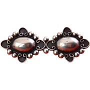 Vintage Mexican Sterling Silver Beaded Ovals Bar Pin