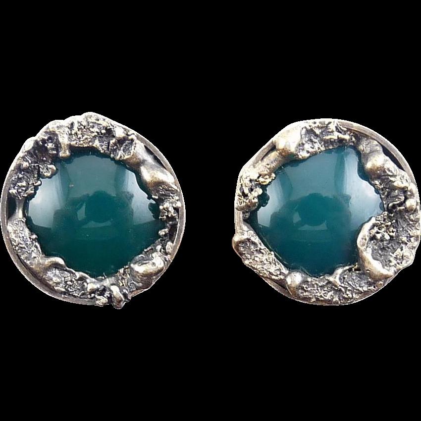 Sterling Silver Modernist Chrysoprase Earrings - Molten Silver Frames