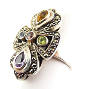 Sterling Silver & Marcasite Ring with Gems: Yellow Citrine, Blue Topaz, Peridot, Garnet & Amethyst