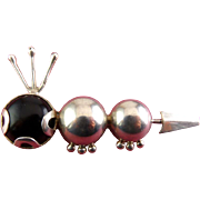 Sterling Silver & Onyx Figural Caterpillar Pin - Mexican