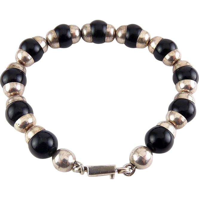 Sterling Silver & Black Onyx Beads Bracelet, Mexican Silver