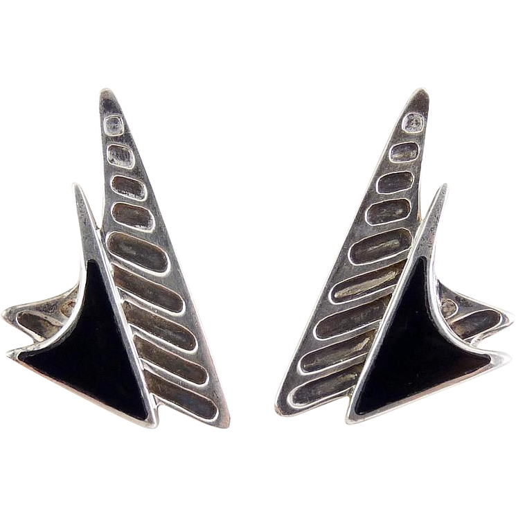 Sterling Silver & Onyx Stacked Boomerang Earrings - Pierced, Post Modern
