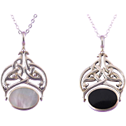 Swedish Sterling Silver Reversible Spinner Pendant with Onyx & Mother of Pearl - Celtic Knot, Viking Norse Motif