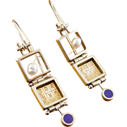 Sterling Silver, Pearl & Enamel 3-Section Jointed Shadow Box Drop Earrings