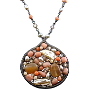 Intricate Sterling Silver, Pearl, Coral & Glass Bead Mosaic Pendant & Beaded Chain