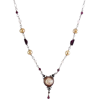 Pink Foil Glass Pendant on Sterling Silver Necklace with Garnet, Pearls & Quartz Beads