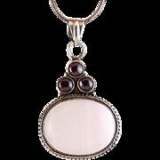 Sterling Silver, Rose Quartz & Garnet Cabochons Pendant