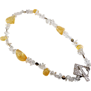 Rutilated Citrine, Quartz & Sterling Beads Necklace with Decorative Toggle Clasp
