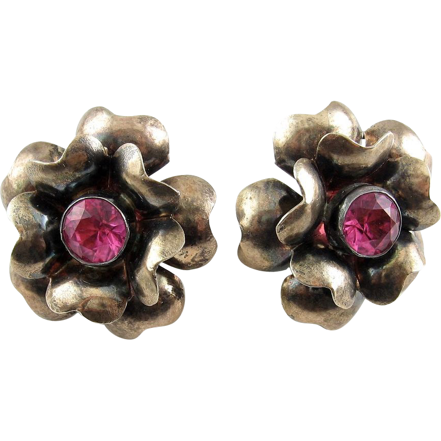 1940's Sterling/ Rose Gold Large Flower Earrings with Pink Crystal Stones