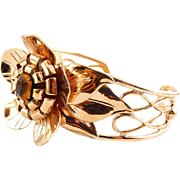 1940's Sterling Silver & Rose Gold Vermeil Hefty Flower Cuff Bracelet with Citrine Crystal - WWII Era