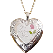 Sterling Silver Heart Locket Pendant with Rose Enamel and I Love You Engraving, 18 Inch Chain