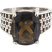 Sterling Silver & Smoky Quartz Oval Solitaire Pierced Band Ring, Sz. 7.5