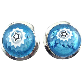 Signed Foiled Art Glass Star Cabochon & Sterling Silver Earrings