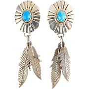 Sterling Silver & Turquoise Native American Style Concho & Feathers Dangle Earrings