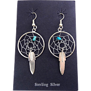 Native American Sterling Silver & Turquoise Dream Catcher & Feather Earrings - Spider Webs