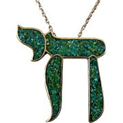Sterling Silver & Turquoise Inlay Hebrew Chai Symbol Pendant with Silver Chain Necklace