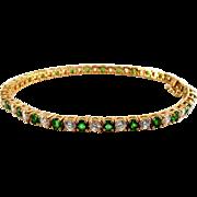 Sterling Silver Vermeil Line Tennis Bracelet - Emerald & Diamond CZ Stones